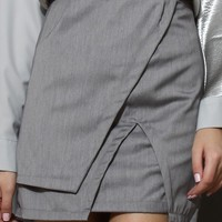 Asymmetric Split Hem Skirt in Grey
