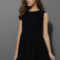 Belted Sleeveless Pleated Dress in Black