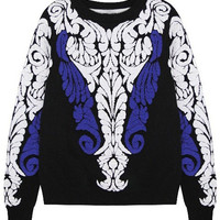 ROMWE | ROMWE Floral Print Black Jumper, The Latest Street Fashion