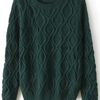 ROMWE | Chunky Diamond Knitted Dark Green Jumper, The Latest Street Fashion