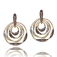 Pave Brown and White Diamond Earrings