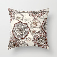 Coffee & Cocoa - brown & cream floral doodles on wood Throw Pillow by micklyn