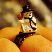 Snowman Fashion Ring. Adjustable Christmas. Novelty Holiday Ring.