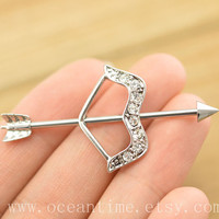 industrial barbell piercing,bow and arrow industrial barbell piercing jewelry, arrow ear jewelry,friendship gift,oceantime