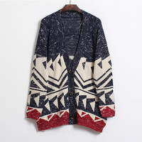 Long Sleeve Geometric Pattern Cardigan