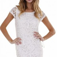 White Lace Cap Sleeve Mini Dress