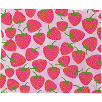 Lisa Argyropoulos Strawberry Sweet In Pink Fleece Throw Blanket