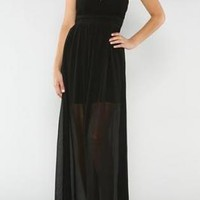 Black Lace & Beaded Bodice Maxi Dress with Sheer Skirt