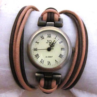 Leather Wrap Woman Watch - Handmade Orlogin's Style Bracelet Watch FREE SHIPPING