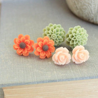Flower Stud Earrings Orange Daisy Post Earrings Green Chrysanthemum Peach Rose Country Garden Resin Cabochon Floral Earrings Autumn Colors