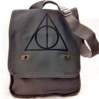 Deathly Hallows Messenger Bag Harry Potter Gray Canvas Messenger Field Bag