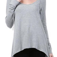 Gray Hooded Long Sleeve Curved Hem Top