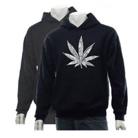 Men's GREY Marijuana Leaf Hoodie Small - Created Using 50 Street Terms For Marijuana