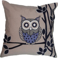 Owl on Branch Toss Cushion - Blue
