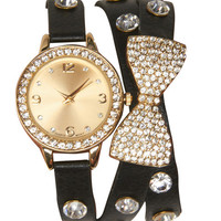 Bow Rhinestone Wrap Watch | Wet Seal