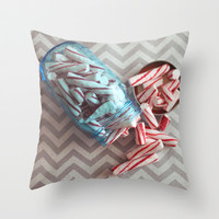 peppermint sticks Throw Pillow by Beverly LeFevre