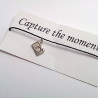Capture the moment Camera charm friendship bracelet on waxed cotton cord