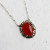 Antique Art Deco Marcasite & Red Glass Necklace - Vintage Sterling Silver 1920s 1930s Jewelry / Oval Pendant