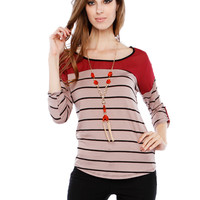 STRIPE CUPOUT NECKLACE TOP