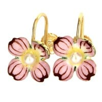 Vintage Nouveau 14k Yellow Gold Enamel Cultured Pearl Flower Earrings