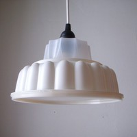 TUPPERLIGHT Tupperware Pendant Light - UpCycled White Jell-O Mold - Handcrafted Recycled Repurposed BootsNGus Hanging Lighting Fixture