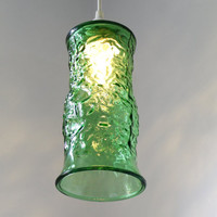 EMERALD CITY - Hanging Pendant Lighting Fixture - UpCycled Vintage E O Brody Co Green Glass Flower Vase Lamp Original BootsNGus OOAK Design
