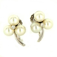 Vintage 14K White Gold Cultured Pearl Diamond Clover Cocktail Earrings
