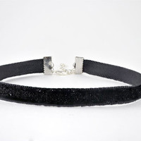 Dainty 90s Glitter Ribbon Black Choker Necklace