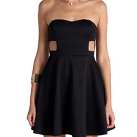 Sweetheart Cut Out Skater Dress - Black