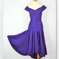 90s Drop Waist Party Dress Purple Off Shoulder Evening Gown Fully Lined xs extra small