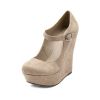 SUEDED MARY JANE WEDGE
