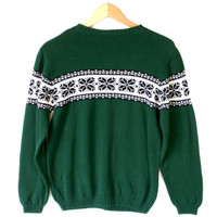 Green Nordic Snowflake Cotton Ski Ugly Sweater – Kids