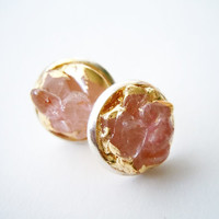 Rose Quartz Stud Earrings - Silver Plated - Gilded in Gold-Natural Glam