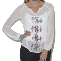 Long Sleeve Embroidered Peasant Top - WetSeal