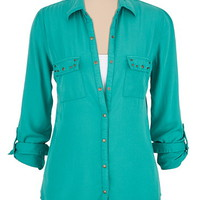 stud pocket button down shirt