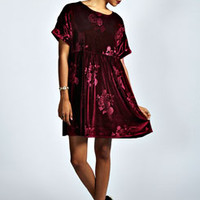 Anne Embossed Velvet Smock Dress