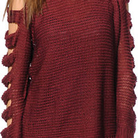 Lira Girls Alice Maroon Knit Sweater