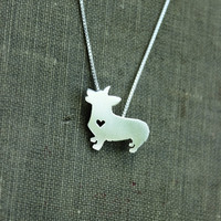 Pembroke corgi necklace, sterling silver hand cut pendant, with heart, tiny dog breed jewelry