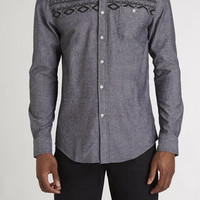 Chambray Aztec Printed Yoke Button Down