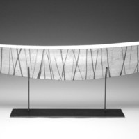 Silver Boat with Black Stripes by Julie Girardini Ken Girardini: Metal Sculpture | Artful Home