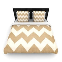 Catherine McDonald Biscotti and Vanilla Beige Chevron Duvet Cover | KESS inHouse - BLACK FRIDAY 40% OFF SALE