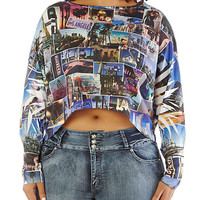 Plus-Size LA Collage Crop Tee - Rainbow