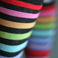 Socks by Sock Dreams » .Socks » Knee Highs » Black Striped Rainbow Knee Highs