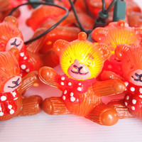 Little bear Christmas lights, vintage Christmas decoration, retro Christmas lightning, Christmas tree lights, bear decoration, bear lamps