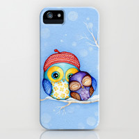 Owl in a Little Red Beret iPhone & iPod Case by Annya Kai