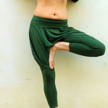 Drop Crotch Pants, Green Harem Pant, Yoga Pants