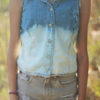 Ombre Sleeveless Denim Shirt Top Button Down Jean Top Ombred