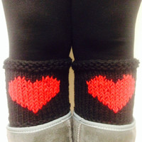 Black Legwarmer ,Black Heart Knitted Leg Warmer, Knit boot toppers, Black boot cuffs,Women leg warmers,Heart boot socks