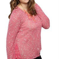long sleeve textured sweaterknit with crochet side details