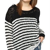 plus size long sleeve striped sweater with lace bottom